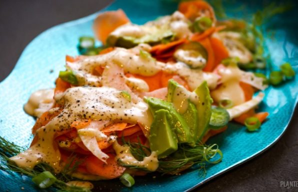 Carrots, avocado and fennel drizzled with a tahini sauce