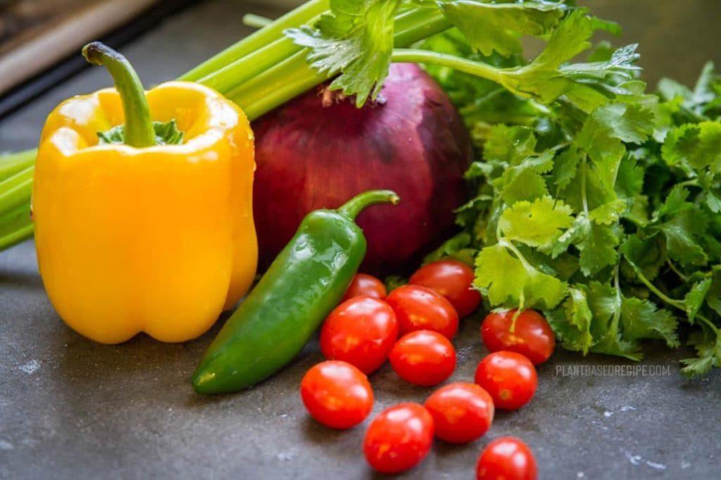 Vegetables and cilantro
