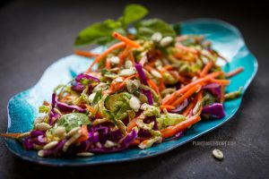 Shaved Brussel Sprout, Cabbage & Carrot Salad (Oil free, vegan)