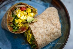 Tofu Scramble Breakfast Burrito (Low Fat, Vegan, No oil)