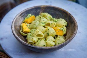 Oil-free Mango Pesto Pasta Salad (Low Fat, Vegan)
