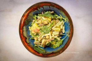 Oil-free pesto pasta salad with chickpeas, apple, and arugula (Low fat, Vegan)