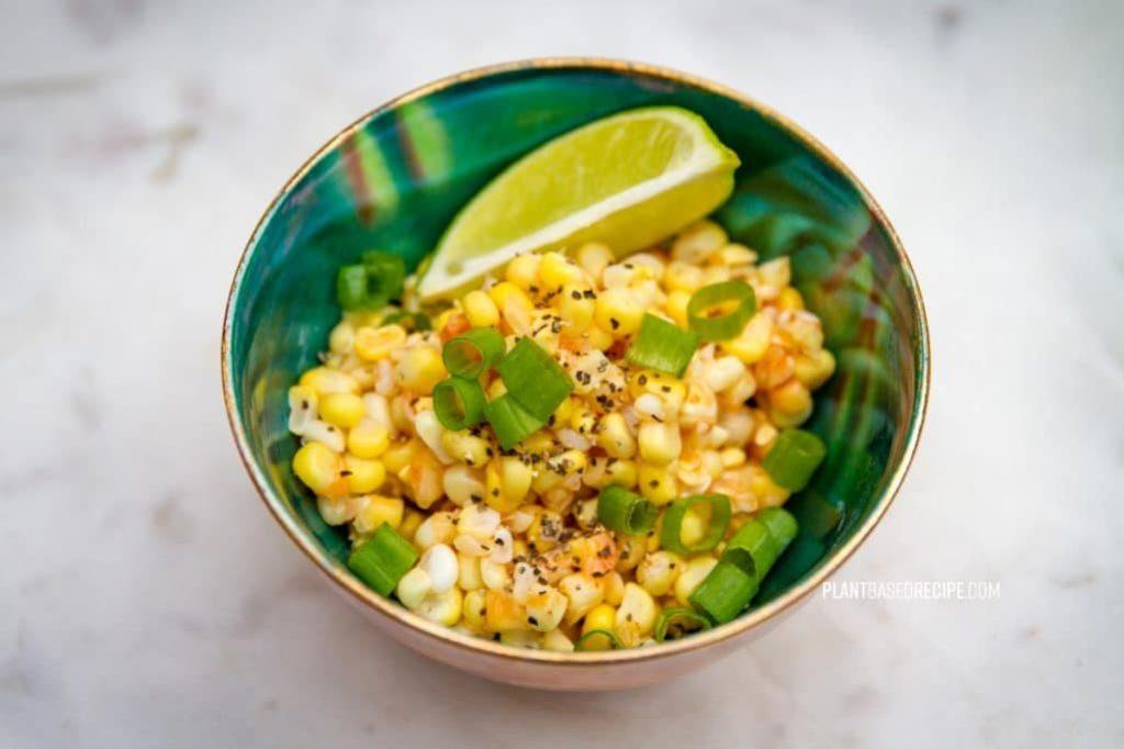 Crunchy Chili Lime Sweet Corn side dish (Low fat, Vegan)