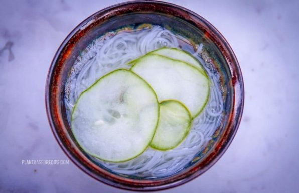 Sunomono salad recipe with noodles and cucumbers.
