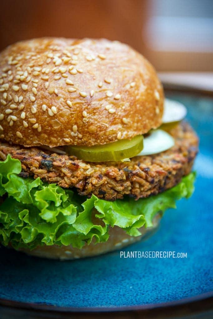 Vegan bean and rice burger patty
