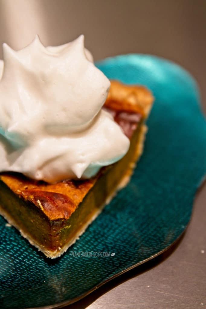 Vegan pumpkin pie and whipping cream