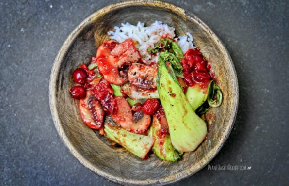 Recipe database plant based recipes easy oil free vegan recipes oil free stir fry cranberry mushroom and bok choy in a bowl forumfinder Images