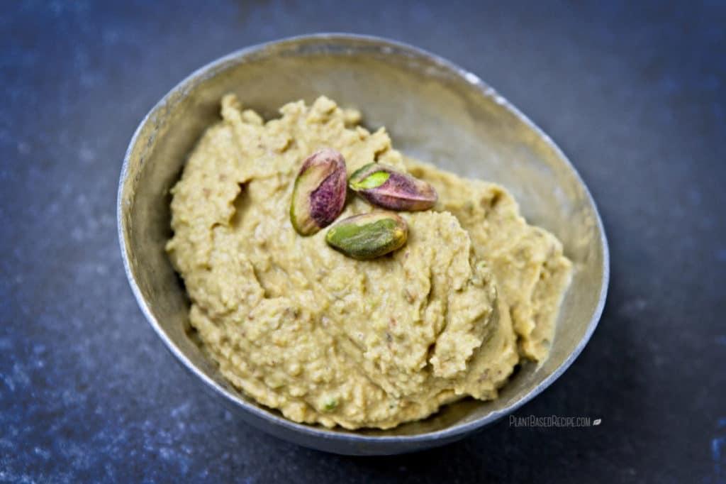 Low Sugar Vegan Cake Recipes: Maple Pistachio Dessert Hummus Recipe (Oil Free, Vegan