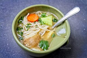 Hearty winter vegetable noodle soup (Low Fat, Oil Free, Vegan)