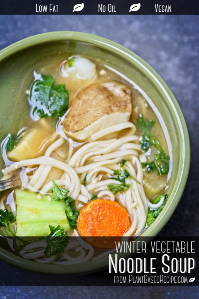 Winter vegetable noodle soup - vegan, oil free and low fat.