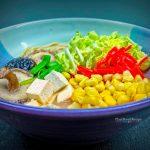 Vegan ramen with tofu and mushrooms in a bowl